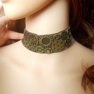 Brown Velvet Choker Cogs Gears Necklace Handmade Retro Cosplay Jewelry Access GD66