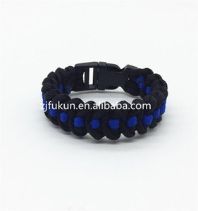 Wholesale Thin Blue Line Series Survival Paracord Bracelet 7 Strand Weave Patriot Beaded, Strands