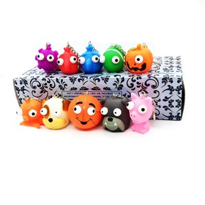 Creative vent extrusion eye popping Doll Toy PVC vent eye popping with key chain