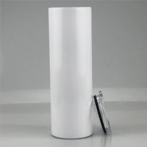 20oz Blank Sublimation Straight Tumblers Stainless Steel Heat Transfer Mugs With Lid and Plastic Straw CYZ3086 hdhd