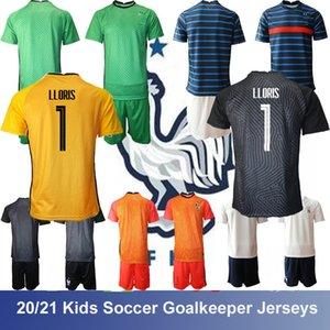 EURO 2021 France National Team Kids Goalkeeper Soccer Jersey Infant LLORIS Griezmann Home Away Green Red Yellow Childrens Paul Pogba Mbappé Giroud Football kit