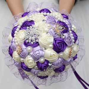 Large Purple Bridal Wedding Bouquet Pearl Bridesmaid Artificial Flowers Buque De Noiva Diamond Bouquets Marriage Gift
