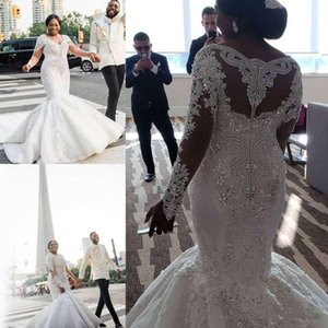 Luxury Sparkly Plus Size Wedding Dresses 2020 Modern Illusion Long Sleeve Crystal Beaded Lace Arabic African Mermaid Wedding Bride Gown