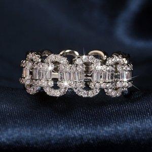 Sparkling Vintage 925 Sterling Silver Rings CZ Diamond Promise Women Engagement Wedding Bridal Ring Gift 1287 B3