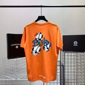 جديد أزياء العلامة التجارية الصيف 2021 البرتقال ماتي كتابات فضفاض طباعة القطن للجنسين تي شيرت / قصيرة الأكمام klx