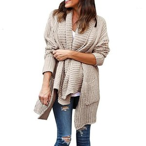 Europe and American chic casual cardigan woman sweater fashion irregular collar open stitch long sleeve female sweater1
