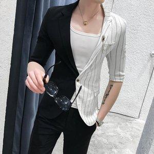 Suit Mens Korean Splice Suits Slim Fit Social Club 2 Pcs Men Smoking Para Hombre Combinaison Homme Stripe With Pants Men's & Blazers