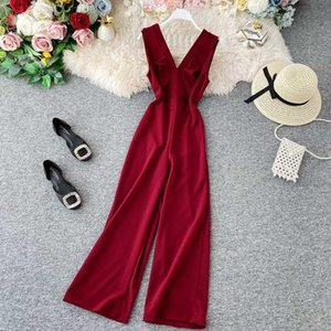 Casual Dresses Spring Summer Jumpsuits Sleeveless Overalls for Women office ladies clothing work wear