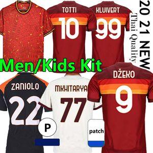 4XL As Roma maillot de football 20/21 Soccer jerseys Rome PELLEGRINI DE ROSSI DZEKO ZANIOLO TOTTI perotti 2020 2021 Roma Manches longues Hommes Enfants Kits Maillots Thaïlande