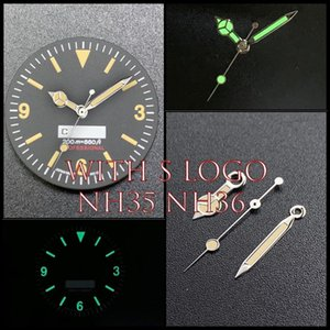 28.5mm Watch Dial Green Luminous For PROSPEX Skx007 NH35 NH36 Face Movement Repair Parts 200m Silver Watchhands Replacement Tools & Kits