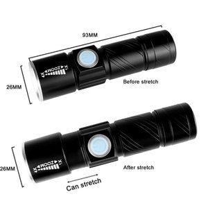 USB Handy LED Torch usb Flash Light Pocket LED Rechargeable Flashlight Zoomable Lamp Build-in 16340 Battery For Hunting