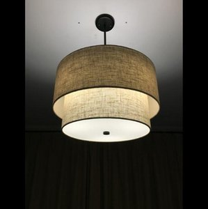 Nordic Style Rustic Modern Minimalist Dining Room Living Bedroom Study Double Linen Fabric Creative Chandelier Pendant Lamps