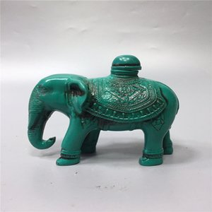 China old Beijing old goods turquoise carving Elephant snuff bottle