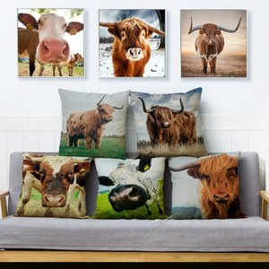 Farm Highland Cattle Dairy Cow Print Cushion Cover Linen Pillow Covers 45*45 Square Pillows Cases Sofa Home Decor Pillowcase
