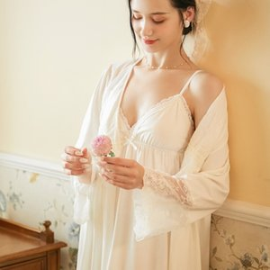 2 PCS Autumn White Female Robe Gown Set Bride Dressing Gown Sexy Cotton Lace Princess Nightie Sets Home Wear Honeymoon Sleepwear