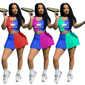 6SETS DHL Tiktok Womens Skirt Set Summer Tennis Wear Cropped QUEEN Letter Vest Sports Bra Tops and Render Shorts Lined Dress Casual Outfits Clothing G58U90T
