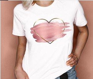 S-4XL Women T-Shirt Graphic 2021 Spring Summer Watercolor Cute Fashion Love Valentine Lady Clothes Tops Tees Print Female Tshirt 2PCS