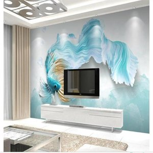 Custom 3D Po Wallpaper Mural Room Sofa TV Backdrop Living Bed Abstract Blue Guppy Relief Picture Wallpapers