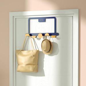Over The Door 5 Hooks Home Bathroom Organizer Rack Clothes Coat Hat Towel Hanger Good Load-bearing Wrought Iron Material & Rails