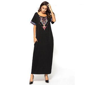 Müslüman Abaya Elbise Kadın Pamuk Nakış Kısa Kollu Ramazan İslami Clohing Casual Maxi Vestidos Fas Kaftan Musulman1