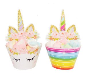 Cupcake Cartoon Rainbow Unicorn 24pcs set Cake Baking Toppers Cup Wrappers Wedding Birthday Party Decorations Tools GGA662 30sets