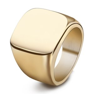 Simple Style Square Big Width Signet Mens Ring Titanium Steel Finger Multi colors Men Jewelry Fast Epacket Free 3031 Q2