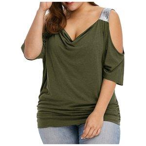 Artı Boyutu Kadınlar Dantel Trim V Boyun Gevşek Soğuk Omuz Bluzlar Tops Yaz En Rahat Kısa Kollu Bluz Kadın Gömlek Blusa #yg