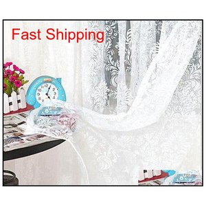 Drapes Deco El Supplies Home & Garden Drop Delivery 2021 Classical Classic Flower Window Screening Customize Finished Products Coffee White L