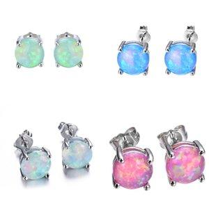 Fashion Opal Stud Earrings For Women Bridal Purple Pink Blue Tiny Opal Earrings Wedding Party Jewelry 2918 Q2