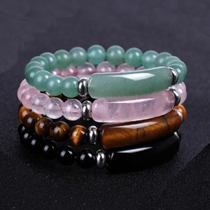 7 pcs lot 8mm Natural Stone Strand Bracelet Reiki Healing Quartz Aventurine Agates Rose Crystal Rectangle Bar Charm Beaded Bracelets