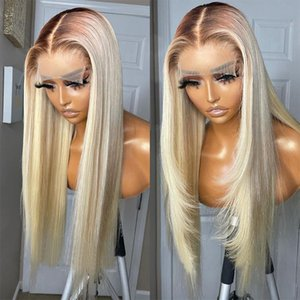 Lace Wigs 26 Inch Long 180% Density Ombre Blonde Straight 13x6 Front Wig With BabyHair Brazilian Human Remy For Black Women 613 Daily