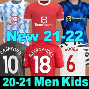 맨체스터 2021 2022 축구 유니폼 United Bruno Fernandes Cavani Utd Pogba Rashford Football Shirt 20 21 22 Man + Kids Kit Hutlrace Fourth