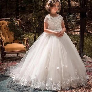 Flower Girls Dresses For Weddings 3D Floral Appliqued Lace Little Kids First Communion Dress Pageant Gowns Family Matching Outfits