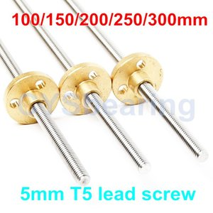 Bearings Picth 1mm Lead 2mm Trapezoidal Rod 100 150 200 250 300mm CNC 3D Printer With Brass Nut