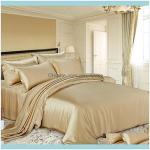Bedding Supplies Textiles Home & Garden100% Mulberry Silk 16 Mm Seamless King Queen Size Champagne And 1000Tc Cotton Satten Siery Color 2 Se