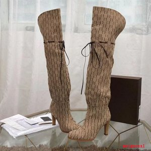 Designer Women Boots Top Quality Genuine Leather Red Beige Canvas over the knee boot's Zipper Laces fashion luxury High Heel Womens Brand Casual shoes