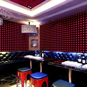 Modern KTV El Dancing Room 3D Small Square Grid Wall Papers Decoration PVC Wallpaper Roll For Walls Contact Paper Wallpapers