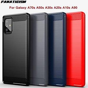 Anti-fall Carbon Fiber Brushed Silicone Cases For Samsung Galaxy A70s A50s A30s A20s A10s A90 Shockproof TPU Bumper Cover