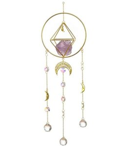 Wholesale Home Decor, Amathyst, Handmade Gold-Plated Moon Phase Sun Trap, Colored Crystal Sunshade, Prism Window Hanging