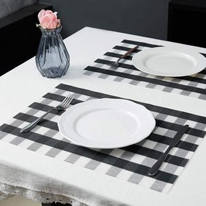 Table Runner Mats,Placemat Set Of 8 Non-Slip Washable Place Mats,Heat Resistant Kitchen Tablemats For Dining (Black And White)