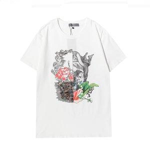 Kafatası Tasarımcısı T-shirt Erkek Tees Yaz Temel Katı Baskı Mektubu Desen Çiçek Fotoğraf Kaykay Rahat Punk Nefes Tops Tee Kadın Gömlek Giyim Kısa Kollu