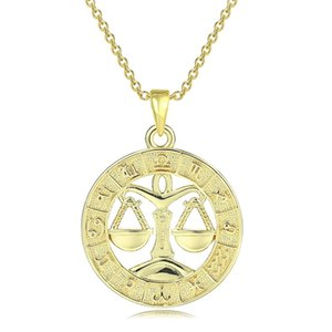 FJ 12 Zodiac Sign Womens Mens 585 Rose Gold Color Constellation Pendants Pisces Aquarius Curb Necklace Chain1 900 R2