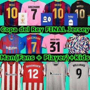 توب برشلونة لكرة القدم جيرسي رابع 2020 أتلتيك بلباو كوبا ديل ري نهائي 2021 camiseta de futbol ANSU FATI MESSI GRIEZMANN F. DE JONG قمصان كرة القدم قميص رجال أطفال