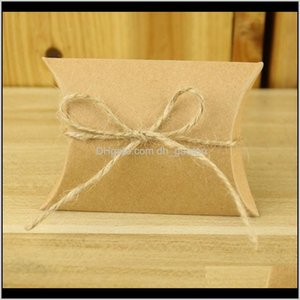 Wrap 50Pcslot Candy Bag Craft Pillow Shape Wedding Favor Gift Boxes Kraft Paper Box Bags Birthday Party Supply Dbc Eqpyz Mg2Sw