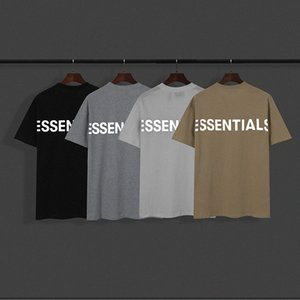 20ss Ins reflective t-shirt Spring Summer Hip Hop Fear Of God Front Essentials 3D Silicon Tee Skateboard Tshirt Fog Men Women Short Sl f8xd#