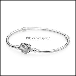 Charm Jewelry1Pcs Drop Crystal Bracelets With Zircon Sier Bangle Fits Pandora Snake Chain Women Girl Gifts Br007 Drop Delivery 2021 Pdc5L