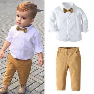 2021 New Fashion Baby Suit Childrens Suits 2Pcs Set Kids Baby Boys Business Suit Solid Shirt+ PantsSet For Boys Party 1-6 Age