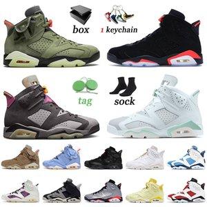 nike air jordan retro 6 Top Qualité 2021 Jumpman Chaussures De Basket-ball Britannique Kaki Travis Cactus Jack Hommes Femmes Noir Infrarouge Minuit Marine Baskets Baskets 36-47