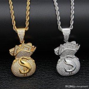 New Arrivel Iced Out Cubic Zircon Money Bag Pendant Necklace Hip Hop Gold Silver Color Men Charm Chain Jewelry