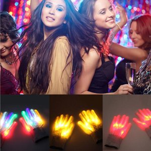 party Christmas gift LED colorful rainbow glowing gloves novelty hand bones stage magic finger show fluorescent dance flashing glove